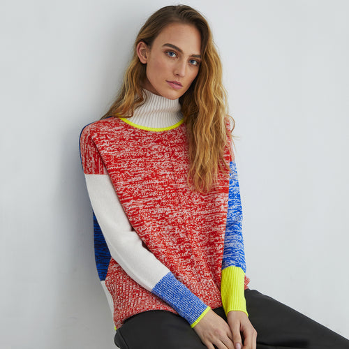 Tweedy Color Block Mock Neck