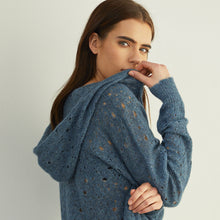 Load image into Gallery viewer, Distressed Pointelle Hoodie in Marlin Blue