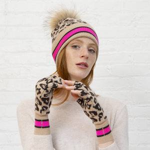 Sporty Leopard Beanie and Glove Set