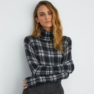 Printed Plaid Sheer Turtleneck