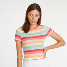 Load image into Gallery viewer, Lettuce Edge Rainbow Stripe Baby Tee