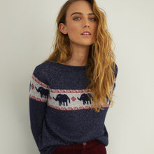 Load image into Gallery viewer, Jacquard Raglan Elephant Crew