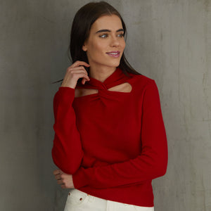 L/S Cutout Twist Neck in Red