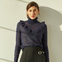 Load image into Gallery viewer, Victorian Pointelle Yoke Mock Neck