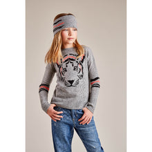 Load image into Gallery viewer, Tiger Crew in Black | Girls' Clothing & Apparel | Black Tiger Sweater for Girls | Autumn Cashmere