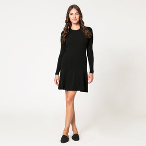 Flared Rib Stitch Dress in Black