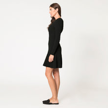 Load image into Gallery viewer, Flared Rib Stitch Dress in Black