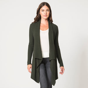 Cashmere Rib Drape Cardigan in Green by Autumn Cashmere | Women's Clothing & Knitwear