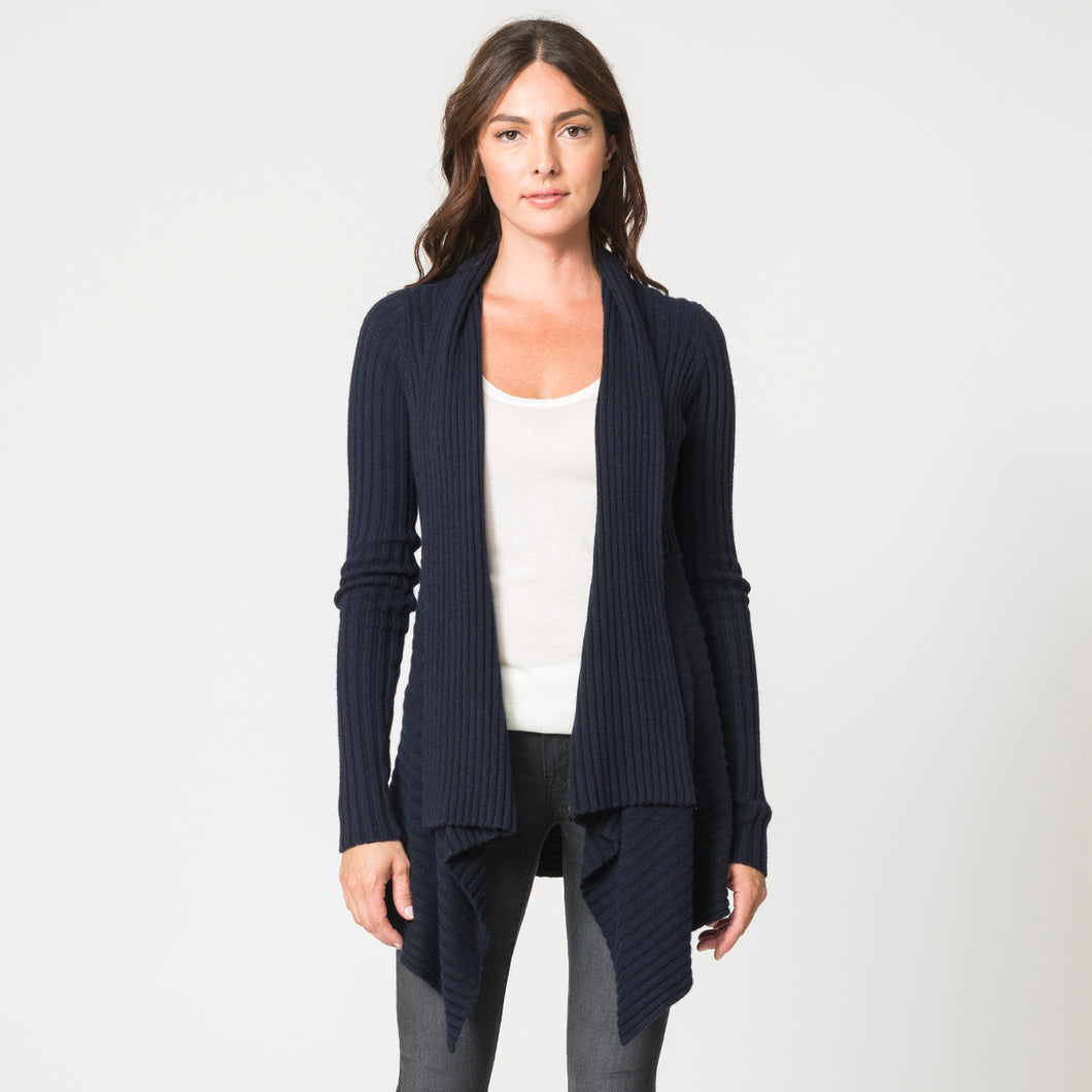 Cashmere Rib Drape Cardigan in Navy by Autumn Cashmere | Women's Clothing & Knitwear