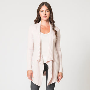 Cashmere Rib Drape Cardigan in Light Pink  by Autumn Cashmere | Women's Clothing & Knitwear