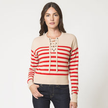 Load image into Gallery viewer, Boxy Striped Lace Up Top Pullover | Women's Clothing & Knitwear | Autumn Cashmere