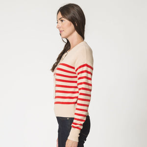 Boxy Striped Lace Up Top Pullover | Women's Clothing & Knitwear | Autumn Cashmere