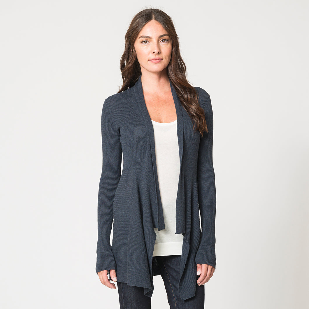 Cotton Rib Drape Cardigan in Dungaree Blue by Autumn Cashmere | Women's Clothing & Knitwear