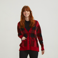 Load image into Gallery viewer, Plaid Boyfriend Cardigan