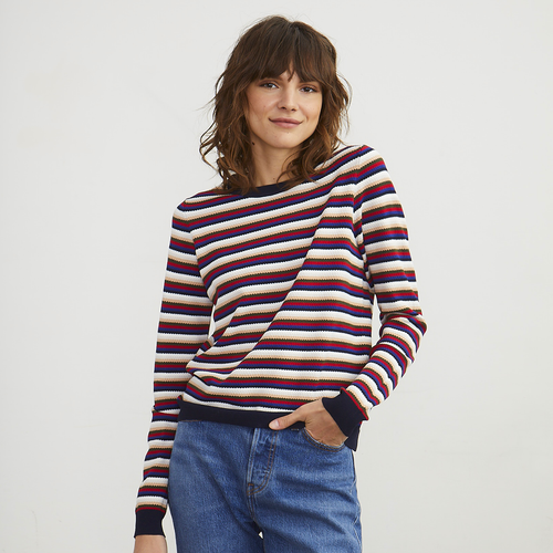 Multi Stripe Crew Sweater | Women's Colorful Striped Sweater Pullover | Viscose | Autumn Cashmere