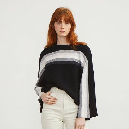 Purl Stitch Rainbow Crew Sweater | Black White Striped Sweater Pullover | Luxury Knitwear by Autumn Cashmere