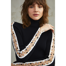 Load image into Gallery viewer, Rib Turtleneck with Open Ring Sleeves | Women's Black Pullover Sweater | Viscose | Autumn Cashmere