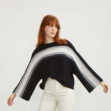 Load image into Gallery viewer, Purl Stitch Rainbow Crew Sweater | Black White Striped Sweater Pullover | Luxury Knitwear by Autumn Cashmere