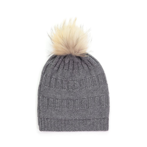 Textured Pom Pom Hat in Flannel | Autumn Cashmere