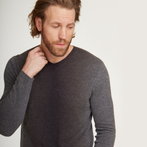 Ombre Print Pullover in Grey. 100% Cashmere. Men's Sweater. Autumn Cashmere