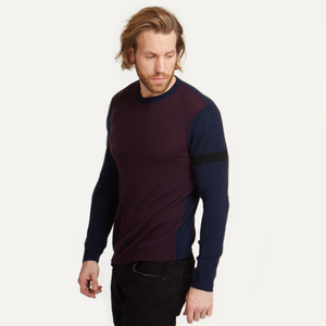 Colorblock Crew with Stripe Sleeve. Men's Cashmere Crew Sweater. Autumn Cashmere.