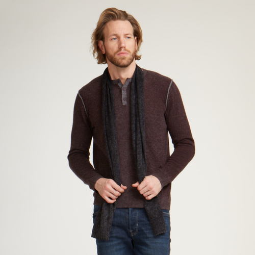 Inked Henley in Maroon. Men's Cashmere Sweater. Autumn Cashmere.