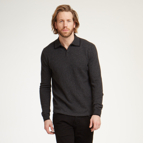 Cashmere Polo with Tipping in Pepper
