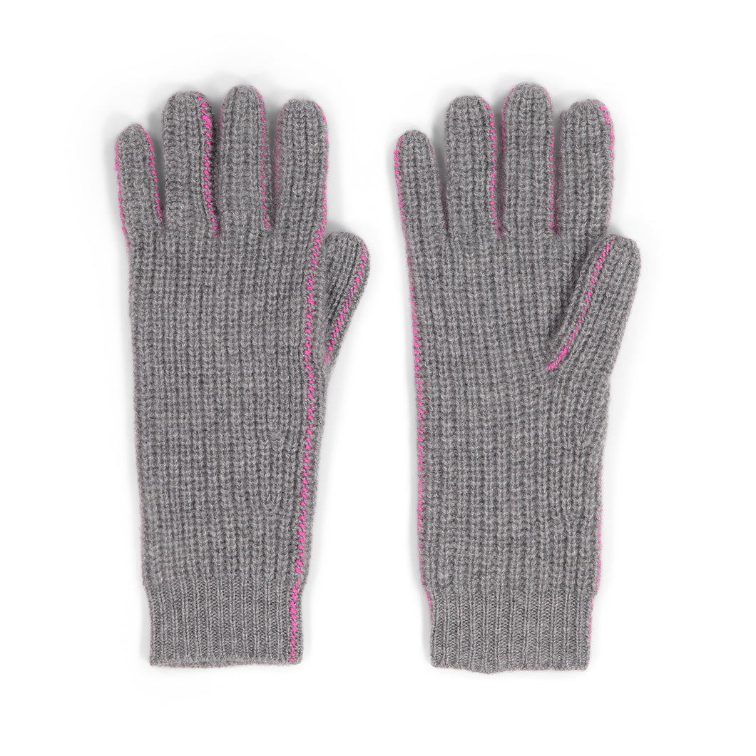 Thermal Gloves with Cover Stitch in Grey | Autumn Cashmere
