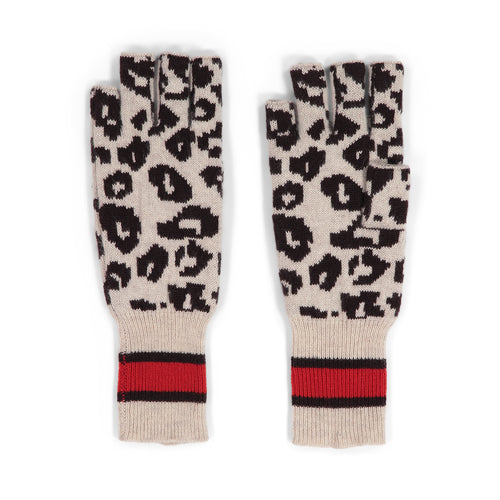 Sporty Athletic Leopard Fingerless Gloves