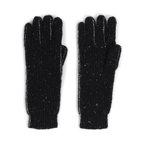 Black Thermal Cashmere Gloves with Cover Stitch | Autumn Cashmere