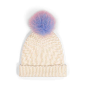 Unicorn Pom Pom Hat in Chalk | Womens Beanies with Pom | Autumn Cashmere