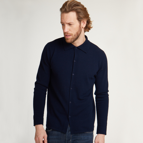 Button Down Polo Shirt in Navy. Men's Polo Shirt in Navy Blue. Italian Cashmere. Autumn Cashmere