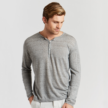 Load image into Gallery viewer, Henley with Extended Placket. Men's Viscose/Linen Grey Shirt. Autumn Cashmere.