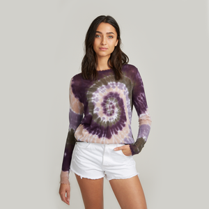 Distressed Edge Pinwheel Tie Dye Crew. Lightweight Summer Sweater. Autumn Cashmere.