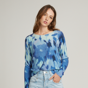Boxy Floral Crew Sweater. Blue Watercolor Sweater. Lightweight. Autumn Cashmere.