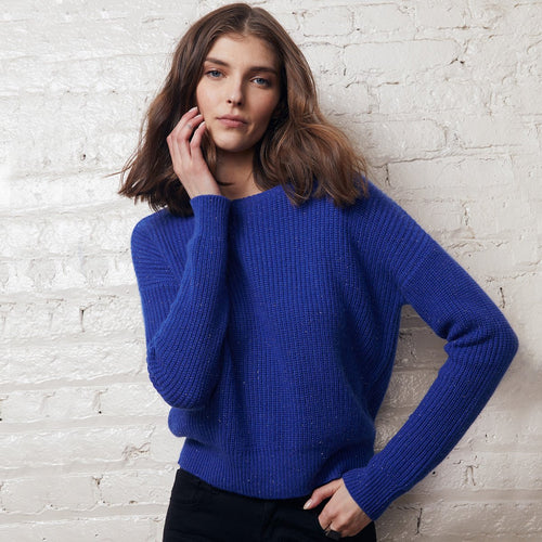 Cobalt Blue Cropped Shaker Stitch Crew Pullover Sweater | Women's Apparel | Autumn Cashmere