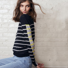 Load image into Gallery viewer, Breton Stripe Mock Pullover | Women's Apparel | 100% Cotton | Autumn Cashmere