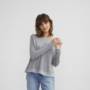 Flared Cotton Thermal Pullover