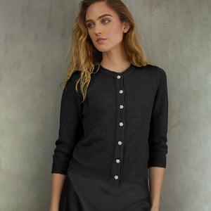 Vintage Baby Cardigan w/ Jewel Buttons in Black