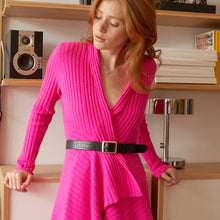 Load image into Gallery viewer, Cashmere Rib Drape in Hyper Pink