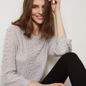 Puff Sleeve Popcorn Cable Crew Pullover Sweater | Women's Knitwear & Apparel | Autumn Cashmere