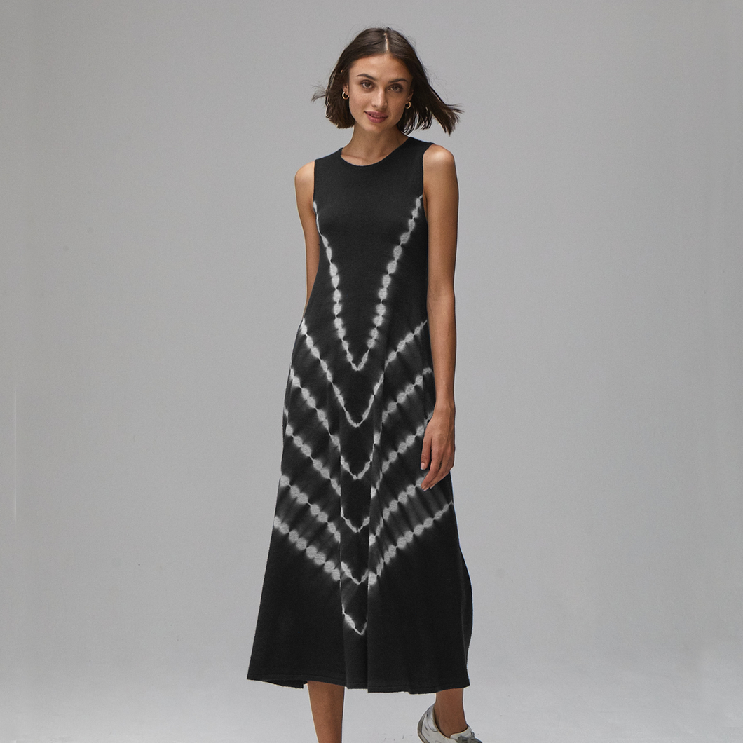 Autumn Cashmere. Tie Dye Maxi Dress in Black. 100% Cashmere.