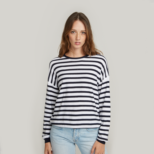 Baby Sequin Stripe Crew. Striped Crew Neck Sweater. 100% Cotton Italian. Autumn Cashmere.