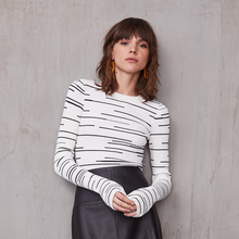 Load image into Gallery viewer, Broken Stripe Rib Crew in Cream