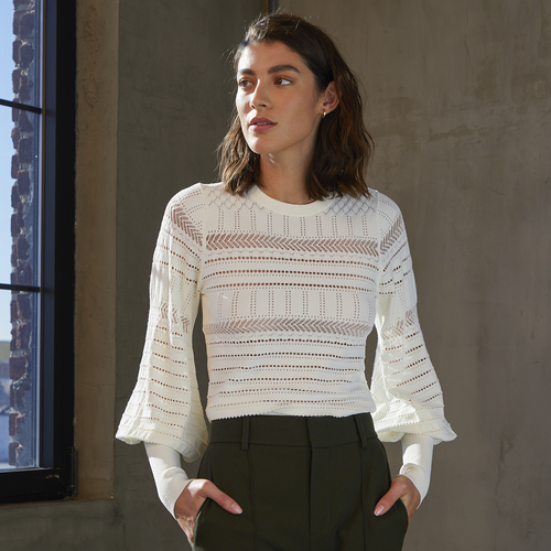 Pointelle Juliette Sleeve Crew in Cream White. Italian Viscose. Autumn Cashmere.