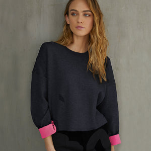 Double Face Neon Crew Sweater in Navy Blue/Neon Pink. Women's Cotton Sweater. Autumn Cashmere