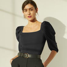 Load image into Gallery viewer, Square Neck Puff Sleeve in Black. Women's Black Blouse. Italian Viscose. Autumn Cashmere