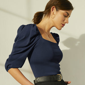 Square Neck Puff Sleeve in Navy Blue. Women's Blouse. Italian Viscose. Autumn Cashmere