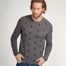 Load image into Gallery viewer, Skull Print Pullover in Bankers Grey