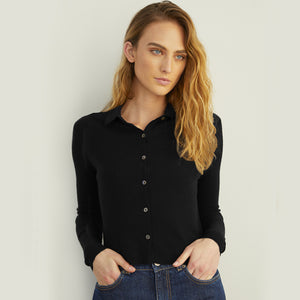 Cropped Rib Polo Cardigan in Black